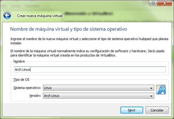 Debemos nombrar la máquina virtual y especificar el tipo de sistema operativo que se instalará