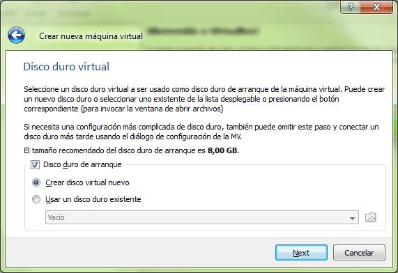 Debemos crear un disco de arranque para la máquina virtual
