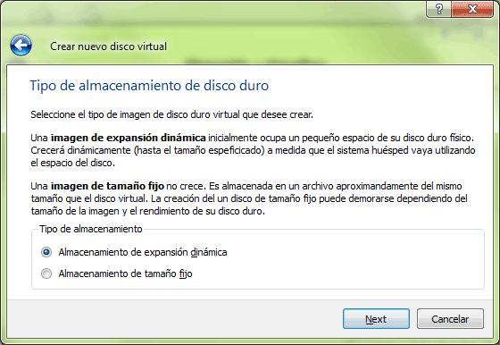 Selección del tipo de archivo que contendrá el disco duro.