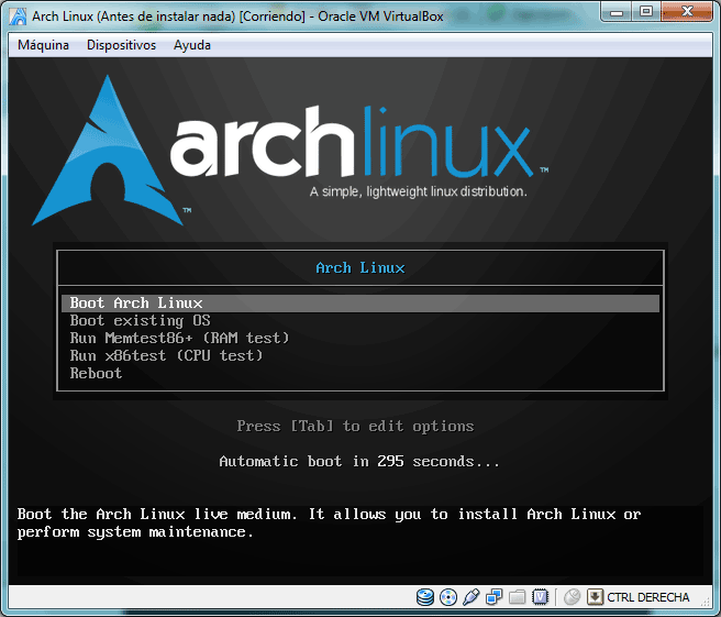 Pantalla de inicio del CD de instalación de Arch Linux