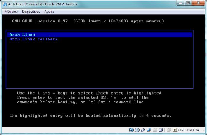 Pantalla de GRUB de selección del sistema operativo a ser arrancado
