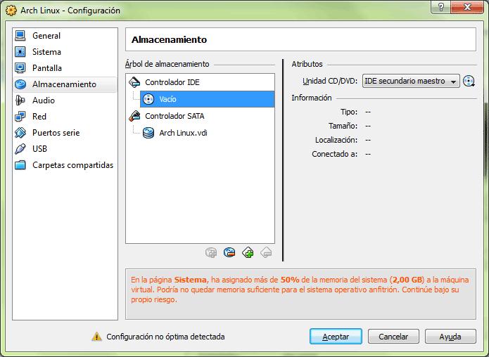 Pestaña de configuración de las opciones de almacenamiento: unidades de CD y discos duros