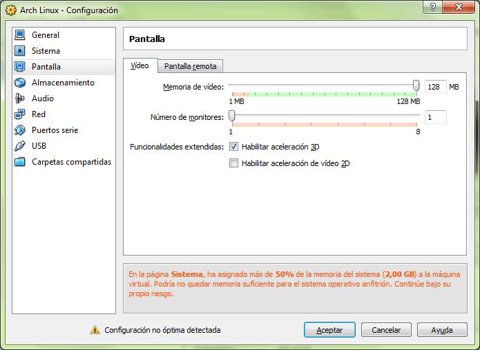 Pestaña de configuración de las opciones de pantalla