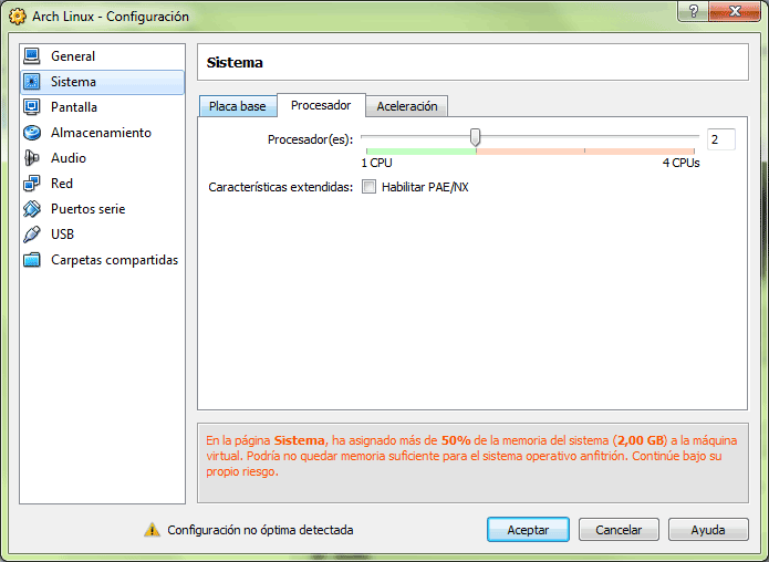 Pestaña de configuración del procesador para seleccionar el número de núcleos