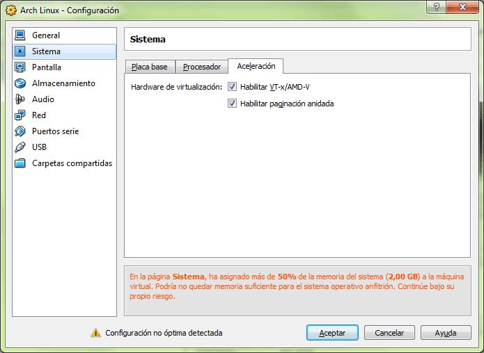 Pestaña de configuración de las opciones de virtualización