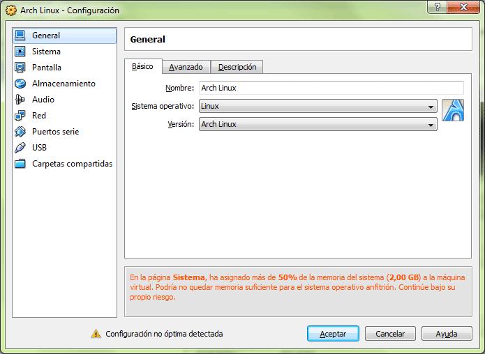 Diálogo de configuración