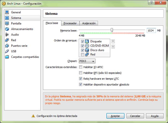 Sección de configuración del sistema