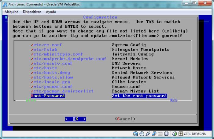 Listado de archivos de configuración