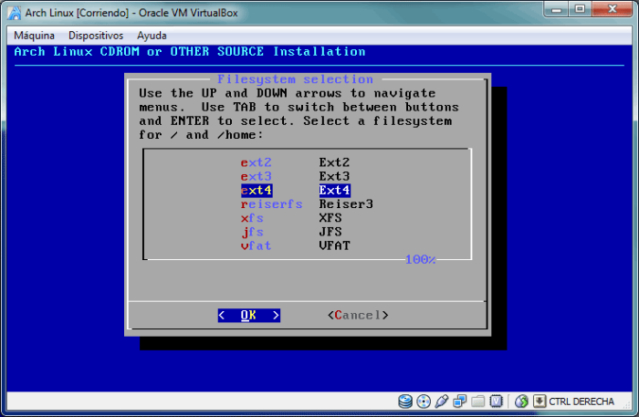 Diálogo de selección del sistema de archivos.