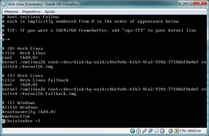 Confirma el archivo de configuración