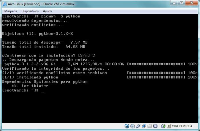 Después de actualizar pacman vuelve a introducir el comando de instalación de python