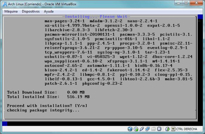 Proceso de instalación de los paquetes de software