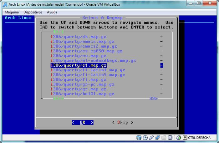 Utilidad km de Arch Linux para configurar el teclado
