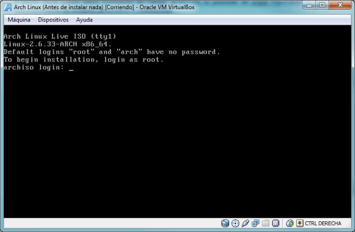 Pantalla de login. Podemos iniciar sesión con el usuario arch o root (ambos sin contraseña). Para instalar es necesario entrar como root
