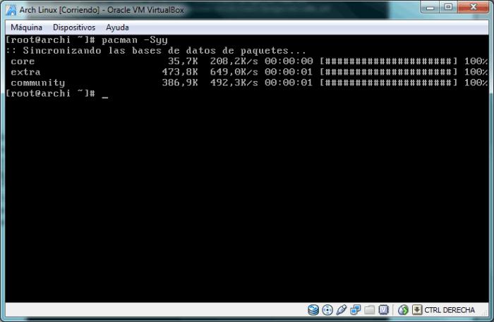Sincronización de las listas de software locales con las de los repositorios activos en el archivo de configuración