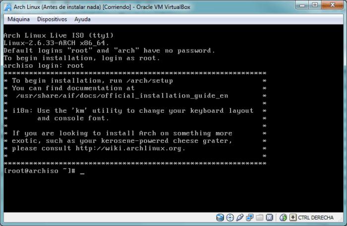 Prompt de Arch Linux tras haber iniciado sesión como root
