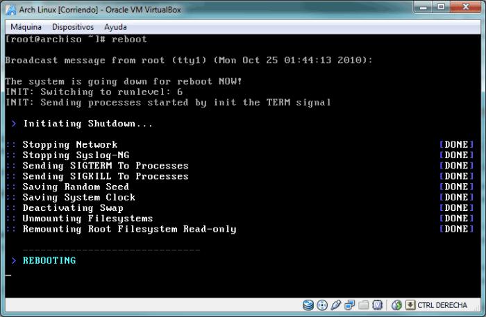 Reiniciando Arch Linux