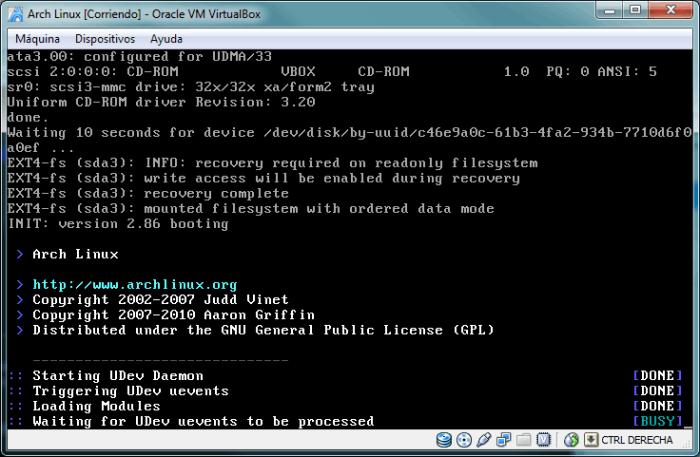 Proceso de inicio (booting) de Arch Linux