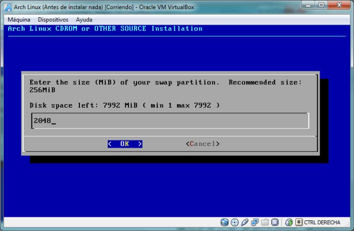 Especifica el tamaño de la partición de intercambio (usa como máximo el doble de tu memoria RAM)