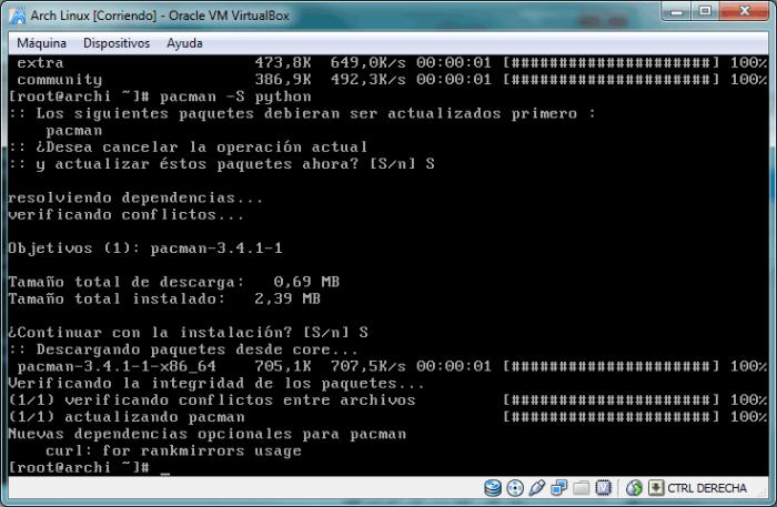Es posible que antes de instalar Python se te pida actualizar pacman, acepta respondiendo S o Y dependiendo del idioma de tu sistema