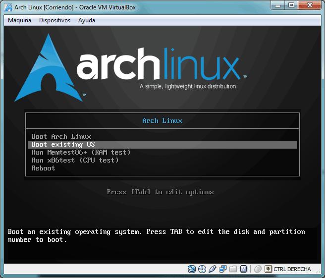Pantalla de bienvenida del CD de instalación de Arch Linux