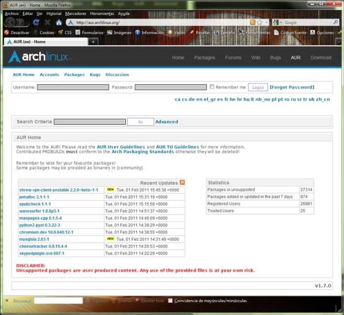 Interfaz web de AUR para la búsqueda y descarga de PKGBUILDs
