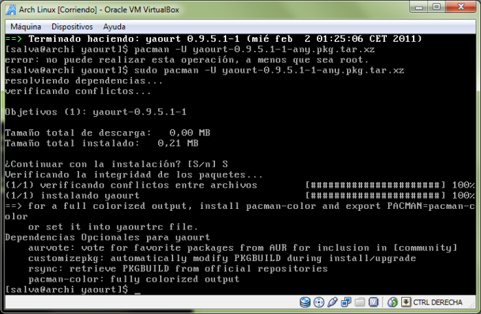 Paquete instalado con pacman -U. Ojo a las recomendaciones finales del paquete.